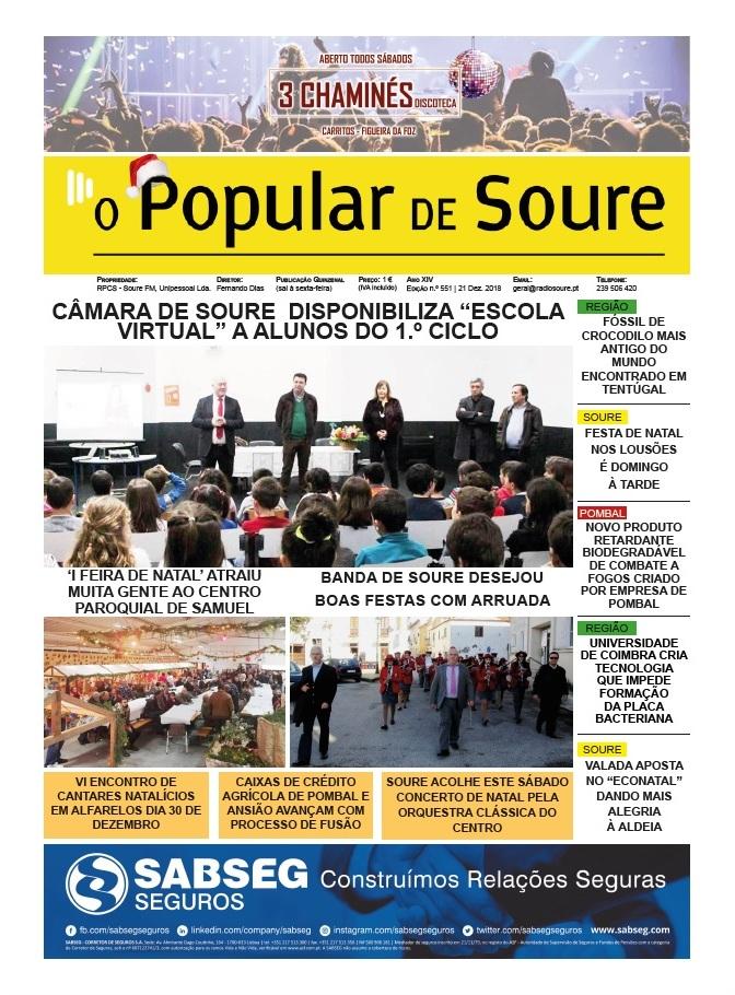 """1ª PÁGINA DO JORNAL """"O POPULAR DE SOURE"""" Nº 551"""
