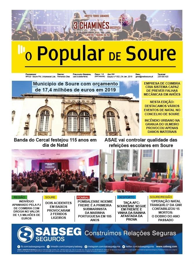 """1ª PÁGINA DO JORNAL """"O POPULAR DE SOURE"""" Nº 552"""